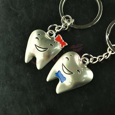 Lovely Teeth Couple Valentine's Day Forever Love Key Chain Keyring Keyfob Gift
