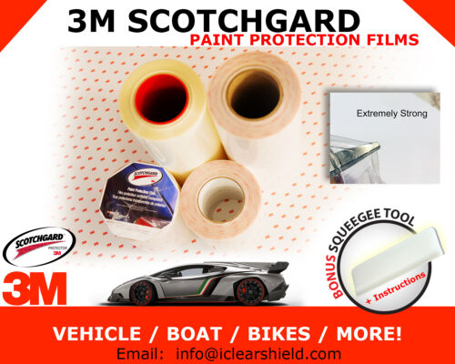 """18/""""x12/"""" to 18/""""x216/"""" 3M Scotchgard Paint Protection Films No Chips Clear Bra"""