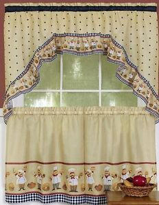 Details About Kitchen Curtains Set 2 Tiers 57 X36 Swag 57 X30 Cucina Fat Chef Achim