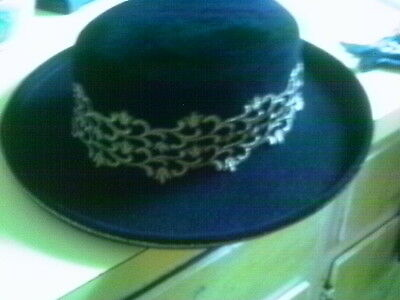 KOKIN BLACK WOOL GOLD METALIC TRIM SPANISH STYLE RIDING HAT BOHO CHIC
