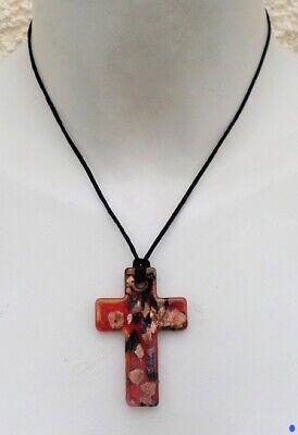 Pendentif Croix Jezabel Rouge Pastilles Or Et Noir Verre Soufflé Style Murano Clients First Jewelry & Watches