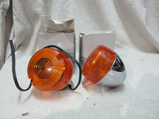Chris Products Duece-Style Turn Signal Lamps FT Dual Filament Amber Lens Chrome