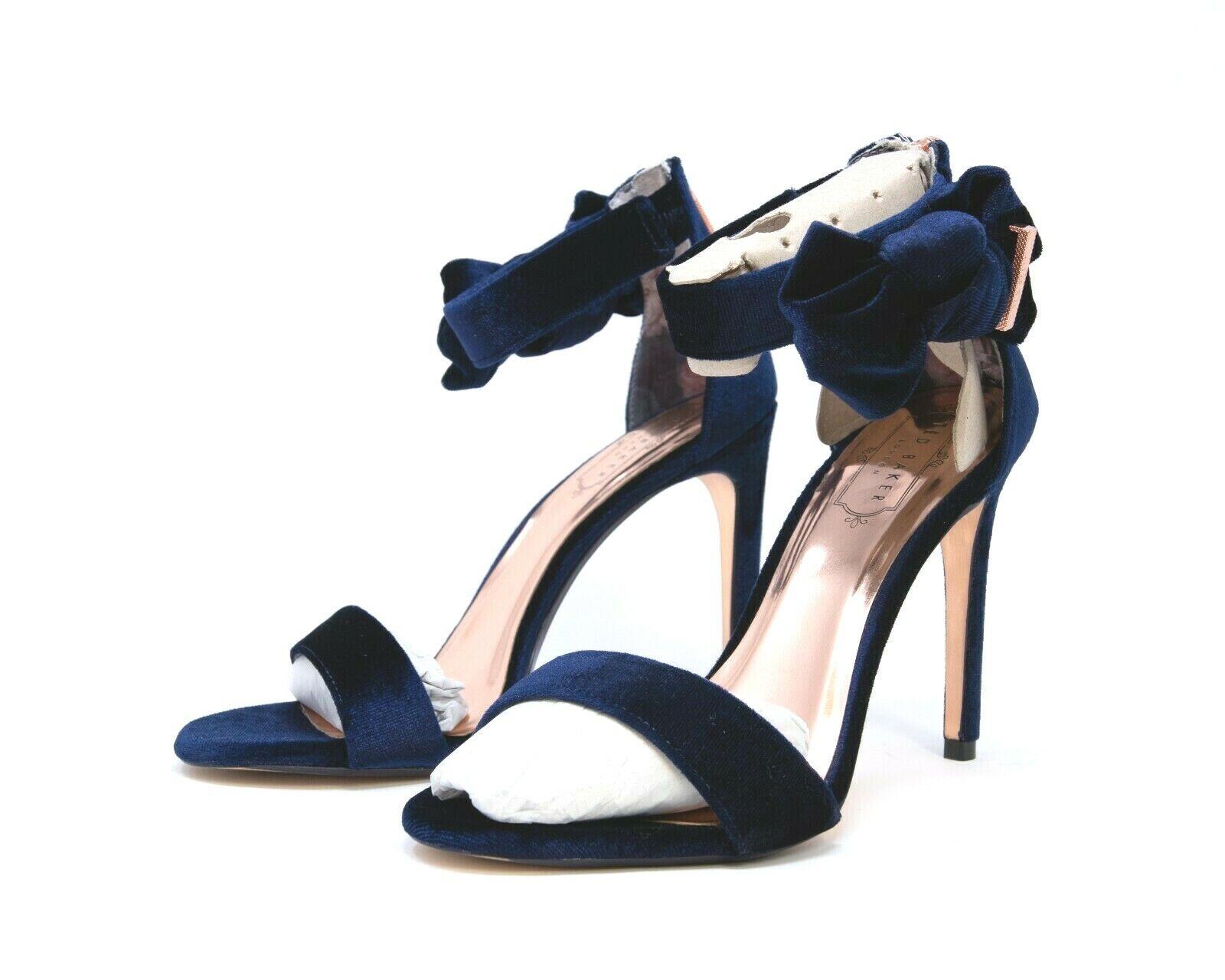 New  198 Ted Baker London London London Women's Heels Velvet Dark bluee Zipper Back Size US 8 65ecb4