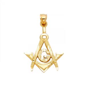 Mason Freemason Necklace Charm Men Women 14K Solid Yellow Gold Masonic Pendant