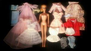 Vintage-Blonde-Barbie-5-Lot-Tagged-Clothes-Sailor-Robe-Dress-Swimsuits-Lingerie