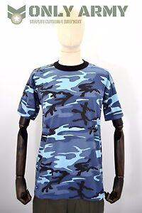 0ae4f5f3 Image is loading Blue-Urban-Camo-Tshirt-Army-Woodland-Midnight-Camo-