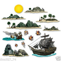 Pirate Pirates Party Wall Decoration Pirate Ship & Island Add On Props