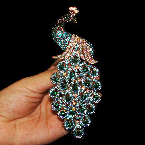 "Fashion 4.92"" Peacock Brooch Pin Blue Green Austrian Crystal Gold Tone Gift"