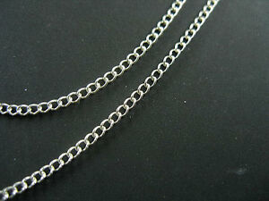 Delicate Chain 925 Sterling Silver Flat Cable Link Chain 1.3x1.8 mm 40 inches