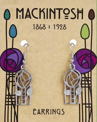 Charles Rennie Mackintosh Rose /& Ladder Pewter Earrings