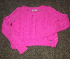 Details about Hollister Size M Jrs Long Sleeve Pink Hole Filled Knit Sweater