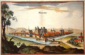 Gravure-Kupferstich-Print-Caspar-MERIAN-Topographia-Galliae-Noyon-1655
