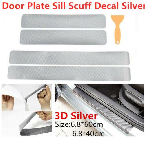 Silver 3D Carbon Fiber Car Door Plate Sill Scuff Cover Anti-Kick Scratch Sticker