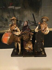 Vintage-Elaborado-A-Mano-Mexican-Folk-Art-Paper-Mache-Figure-Lot-3-EB-MR-Xalisco
