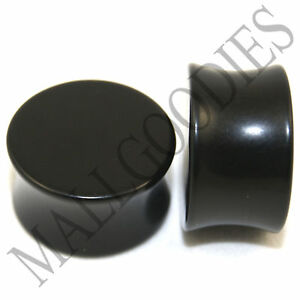 0464-Black-Acrylic-Double-Flare-Saddle-Ear-Plugs-11-16-034-Inch-18mm-1-Pair
