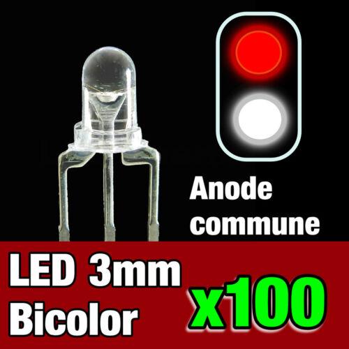 731//100# 100pcs LED bi-color anode commune 3mm blanc rouge idéal digital