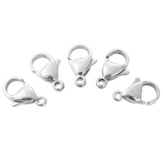 100pcs Alloy Lobster Claw Trigger Clasps Jewellery Findings Platinum 12mm