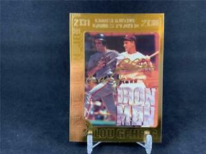 /& Lou Gehrig 1995 Bleachers WCG 23KT GOLD CARD Cal Ripken Jr IROM MEN!