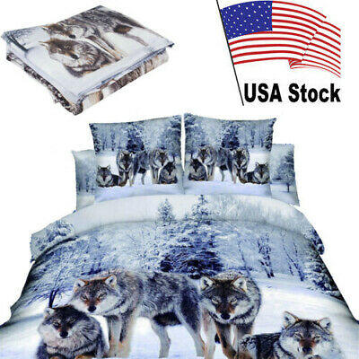4pcs Soft 3D Print Bedding Set Cotton Wolf in the Snow Duvet Cover Bedroom【USA】