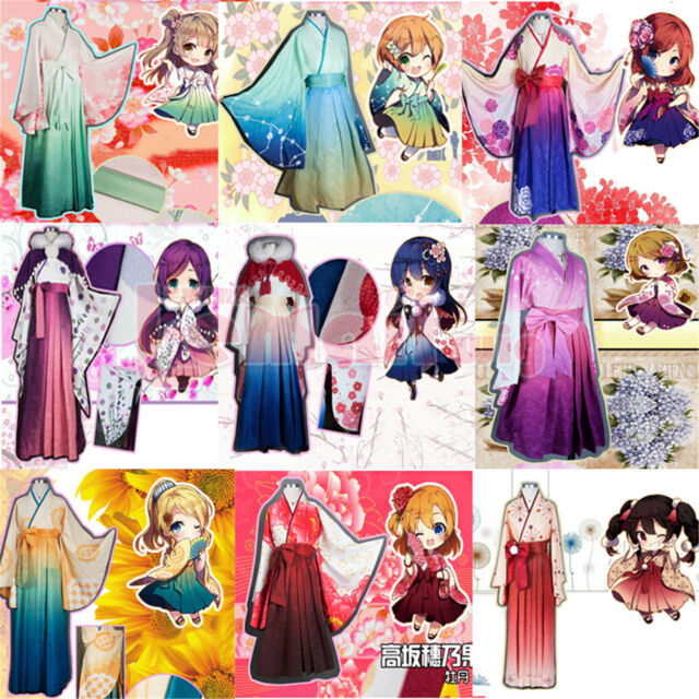 Lovelive! Love Live! Cosplay Costume Japanese Kawaii kimono Top+Dress