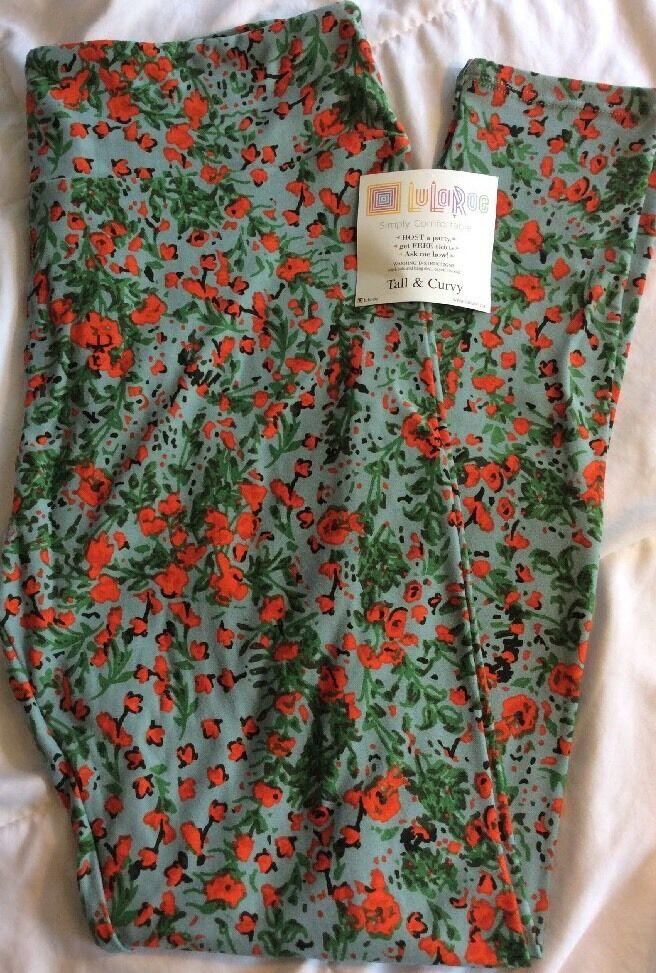 Lularoe TC Tall Curvy Leggings bluee orange Green Floral Unicorn Soft Pants New