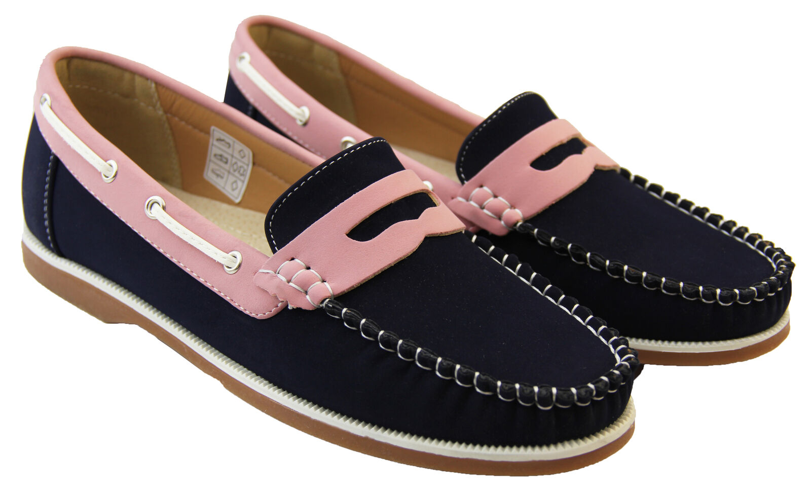569829991f6 Womens Faux Leather Shoreside Smart Formal Moccasins Sailing Deck Shoes  Loafers Navy pink UK 8 for sale online