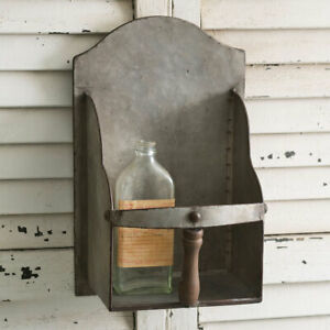 Primitive-Country-Farmhouse-Metal-Grain-Scoop-Wall-Caddy-amp-Shelf-FREE-SHIPPING