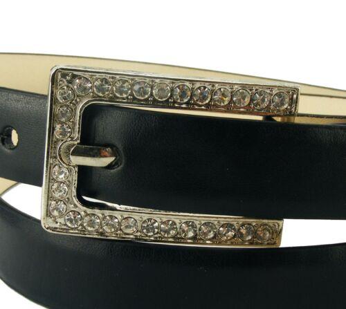 Designer Gürtel schmal Strasschnalle Damengürtel Strassgürtel glatt schwarz GS7E
