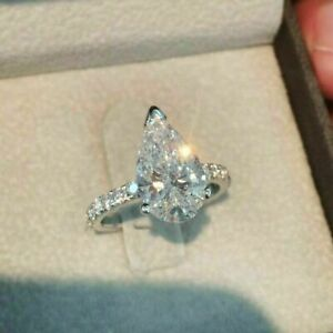14K White Gold Over 3.10 Ct Pear Cut Diamond Solitaire Engagement Wedding Ring