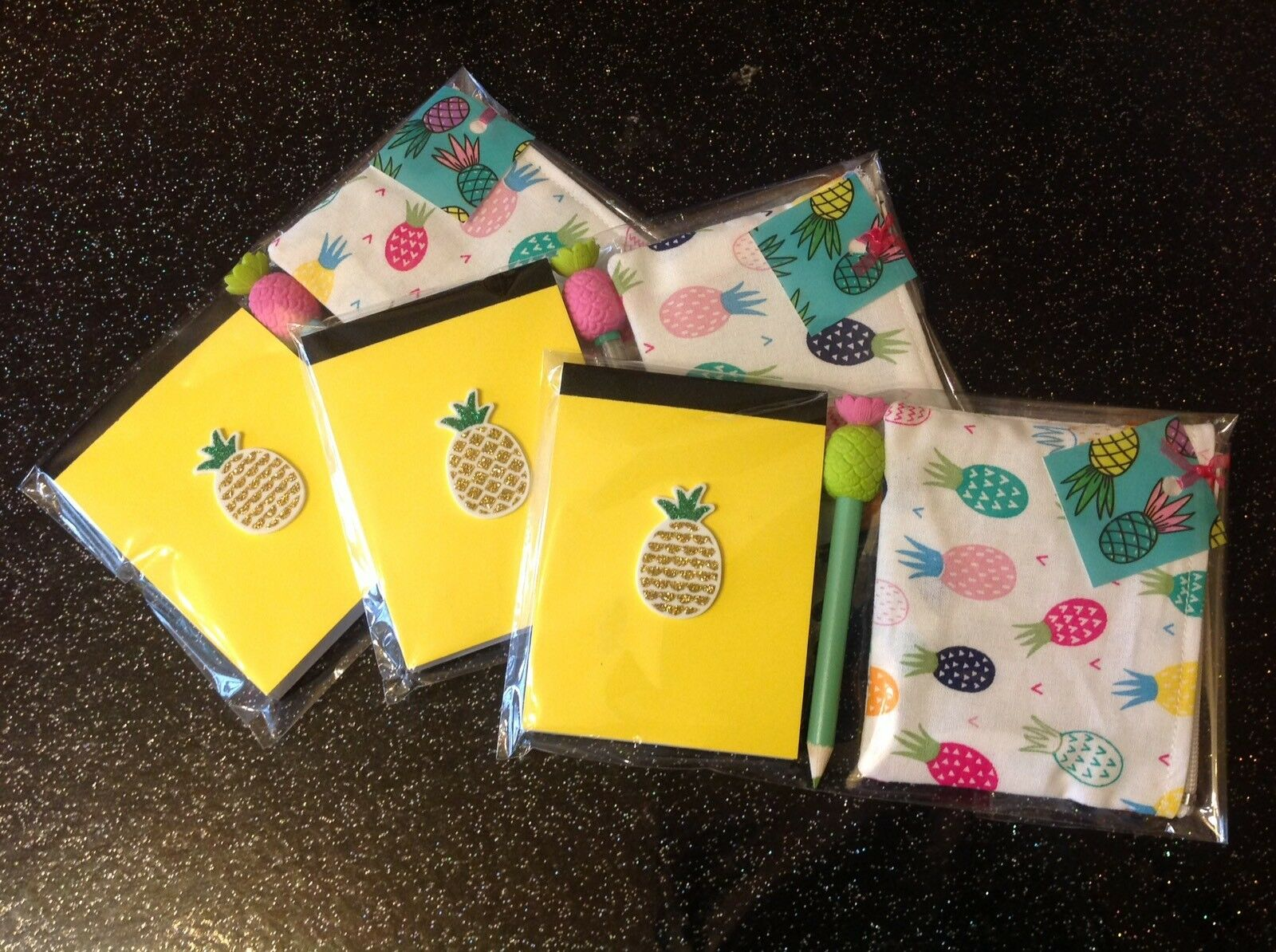 Funky Tropical🍍Pineapple Notebook +Purse +Pencil +Eraser Topper 3pc Gift Set