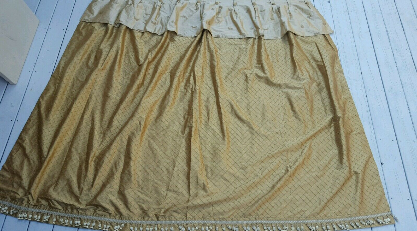 ELEGANT SILK CURTAIN PANEL Gold SILK ATTACHED VALANCE, BEADED TASSEL TRIM LINED