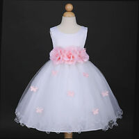 White/Pink Princess Party Dance Wedding Flower Girl Dress 6M 12M 18M 2 4 6 8 10