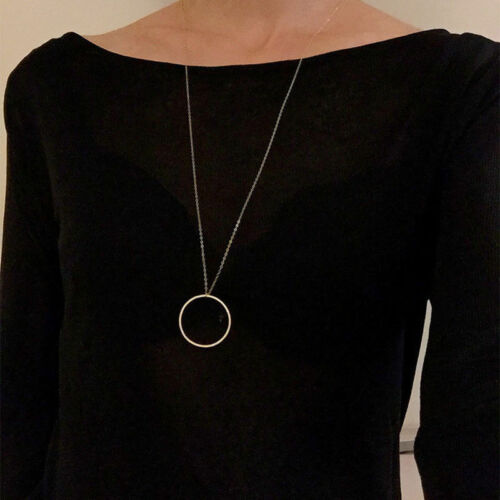 Fashion Women Round Gold Sivler Sweater Long Chain Pendant Necklace Jewelry Gift
