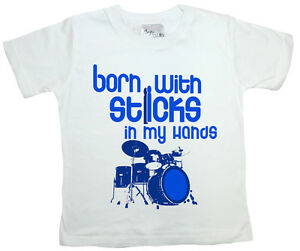 Dirty-Fingers-Child-039-s-T-Shirt-Born-With-Sticks-in-Hands-Drums-Drummer-Rock-Music