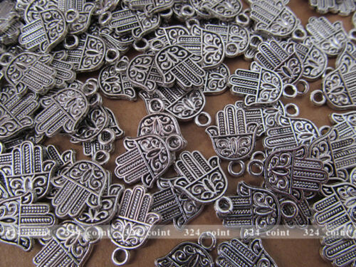 P070 100pcs Tibetan Silver Charm Double-sided Hand Accessories Wholesale