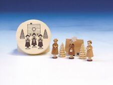 Spanschachtel mit Kurrende, natur 8 cm Deko Seiffen NEU Kurrendefiguren aus Holz