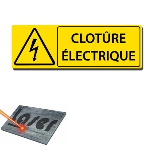 """Plaque gravée autocollante 30x10 cm /""""Clôture électrique/"""" fond jaune"""