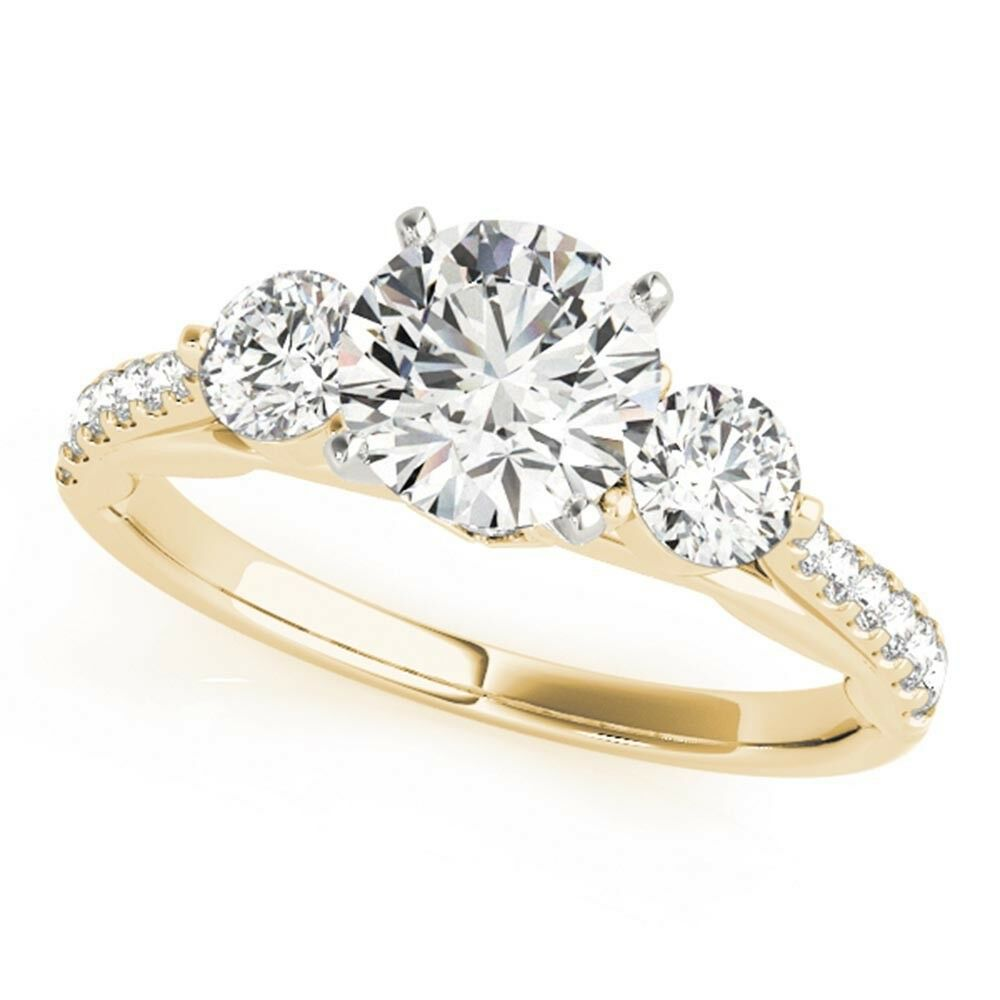 1.00 Ct Round Solitaire Real Diamond Engagement Ring 14K Yellow gold Size 6.5 7