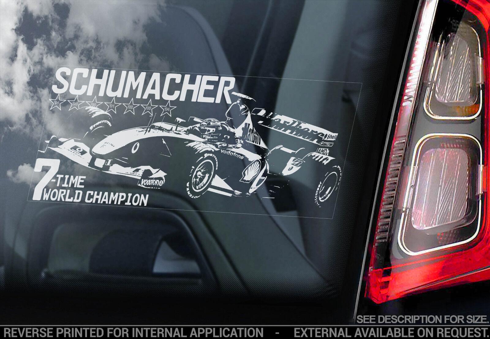 michael schumacher vitre voiture autocollant ferrari formule 1 f1 d calque ebay. Black Bedroom Furniture Sets. Home Design Ideas