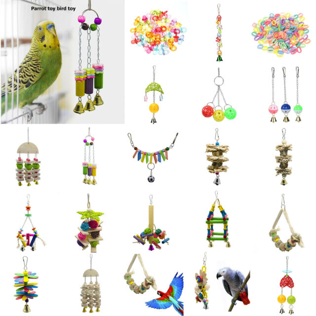 Parrot Toys Cockatiel Bird Chew Bite Climb Swing Bells Hanging Cage Toy DIY Gift