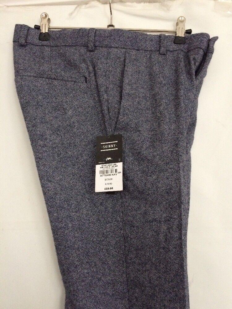 Da Uomo Blu Smart Misto Lana Smart Pantaloni 28  VITA REGOLARE DA Topman Skinny Fit