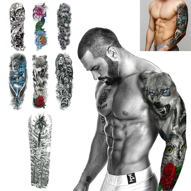 Large Full Arm Sleeve Temporary Tattoo Stencil Sticker Body Art 3d Waterproof Uk Ebay
