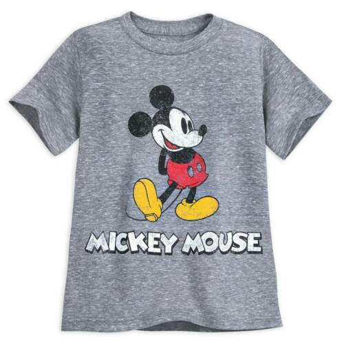 Disney Authentic Grey Mickey Mouse Classic T Shirt Tee for Boys Size 7//8