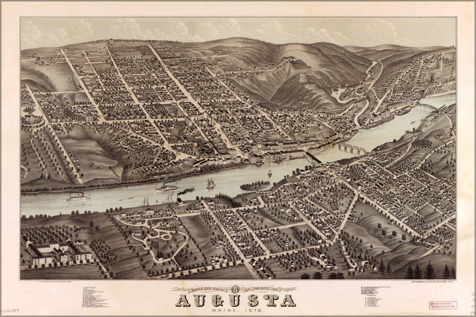 Poster, Molte Misure; Birdseye Vista Mappa Del Augusta, Maine