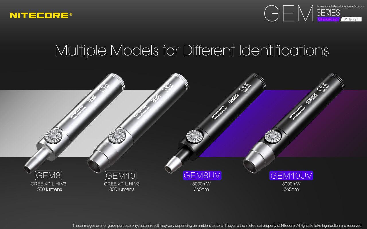 Nitecore GEM10UV + GEM IDENTIFICATION Flashlight w/NL183 Battery + GEM10UV VC4 Charger 77f042