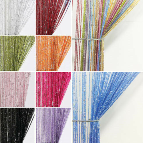 Glitter String Curtain Panels Door Fly Screen Room Divider Voile Net Curtains UK