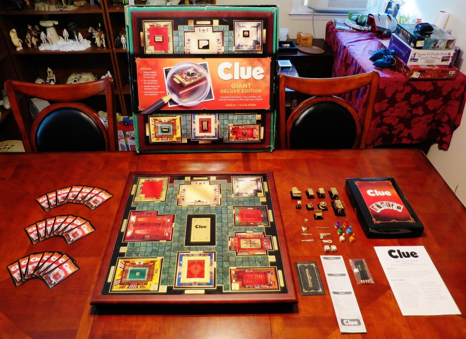 CLUE GIANT DELUXE EDITION BOARD GAME OVERSIZED MAHAGONY FINISH FINISH FINISH WINNING SOLUTIONS 3eecf9