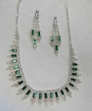 Silver Plated Green Rhinestone Crystal Necklace Set # 16244 Wedding Prom Pageant
