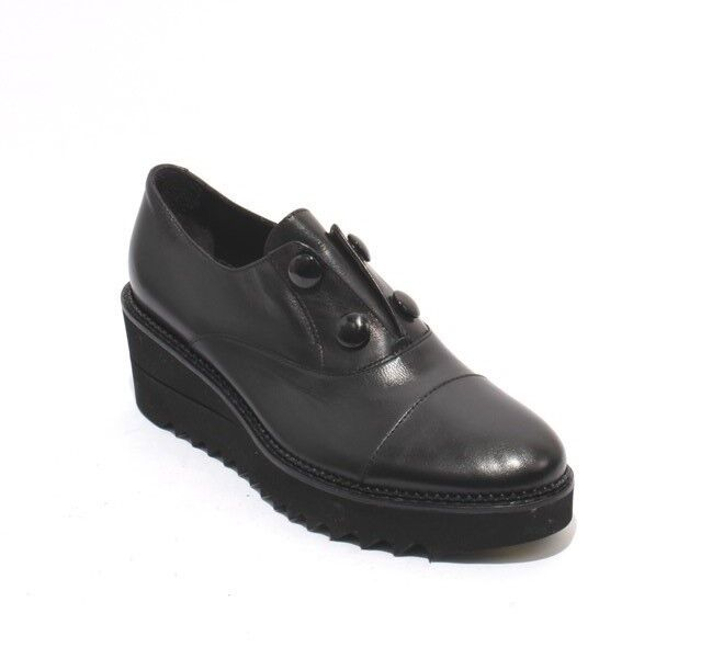 Luca Grossi 108a Black Leather Elastic Loafer Comfort Wedge shoes 38.5   US 8.5