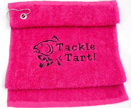 CARP FISHING TOWEL EMBROIDERED OPTION TO PERSONALISE WITH NAME! TACKLE TART